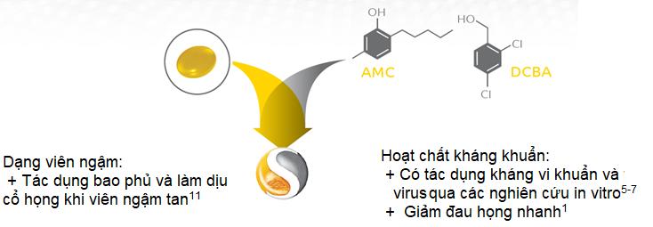 Hoạt chất kháng khuẩn AMC và DCBA dạng viên ngậm làm giảm đau họng