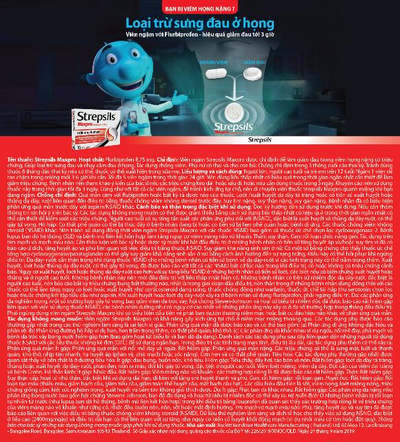 Banner thông tin sản phẩm viên ngậm Strepsils Maxpro